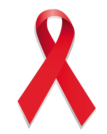 red ribbon bent cross on a white background