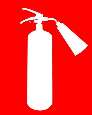 zylinder: wei�en Silhouette ein Feuerl�scher auf rotem Hintergrund