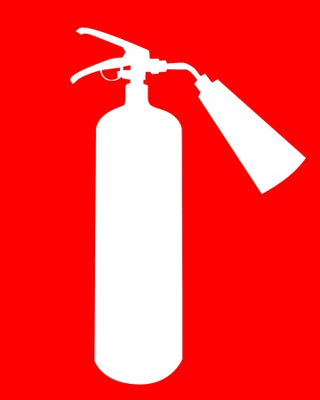 extinguisher: white silhouette of a fire extinguisher on a red background Illustration