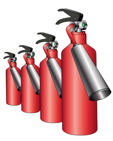group of red fire extinguishers on a white background Illustration