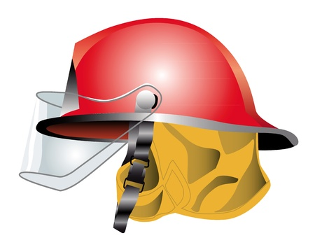 fire helmet: red fire helmet on white background Illustration