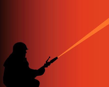 silhouette of a firefighter with a fire quenching water cannon Vector