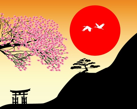 bonsai: Japanese landscape against the backdrop of red and orange sky sun