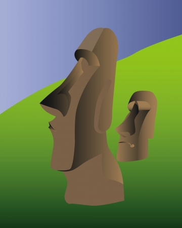 the idols of Easter Island in the background of greenery and blue sky Vector