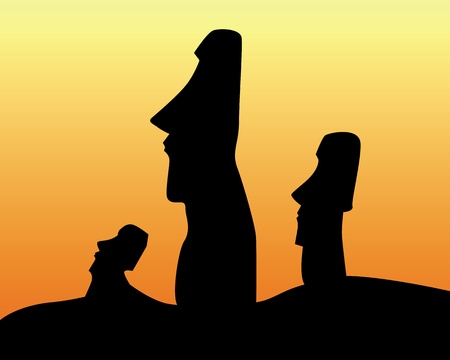 black silhouettes of the idols of Easter Island on an orange background