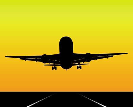 silueta negra de un avi�n sobre un fondo naranja Foto de archivo - 9442852