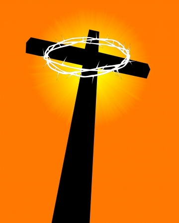 crucifixion: cross and crown of thorns on an orange background