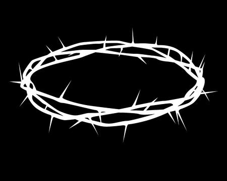crown of thorns: silueta blanca de una corona de espinas sobre un fondo negro