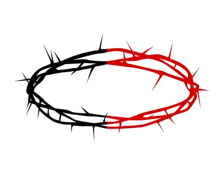 thorns  sharp: black and red silhouette of a crown of thorns on a white background