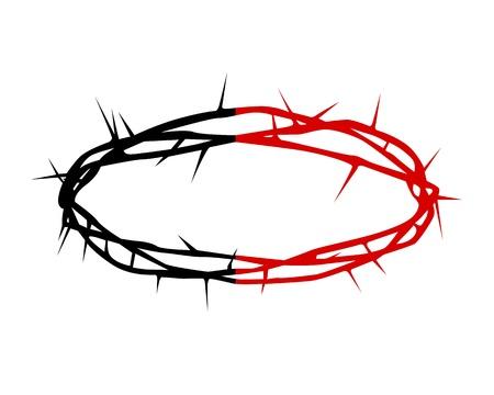 doornenkroon: zwarte en rode silhouet van een kroon van doornen op een witte achtergrond