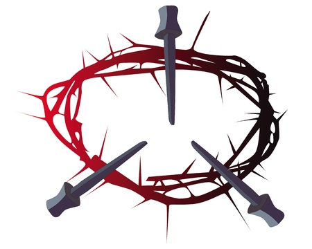 black and red silhouette of a crown of thorns with three nails on a white background