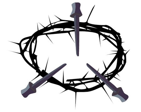 thorns  sharp: silhouette of a crown of thorns with three nails on a white background Illustration