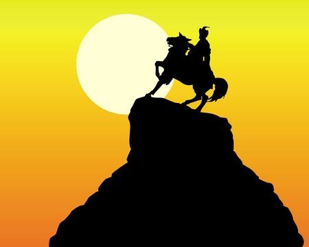 silhouette of the monument Khmelnitsky in Kiev on an orange background Stock Vector - 9587134