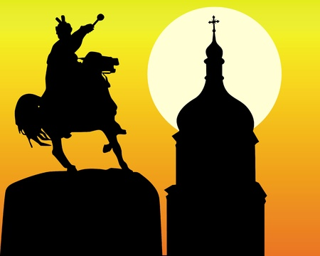 silhouettes Khmelnytsky monument and tower of the church in Kiev on an orange background Stock Vector - 9587123