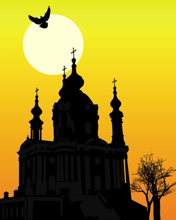 silhouette of St. Andrew's Church in Kiev against the backdrop of an orange background Stock Vector - 9587137