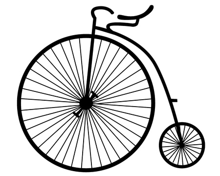 silhouette of an old bicycle on white background