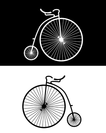 silhouettes of vintage bikes on the black and white backgrounds