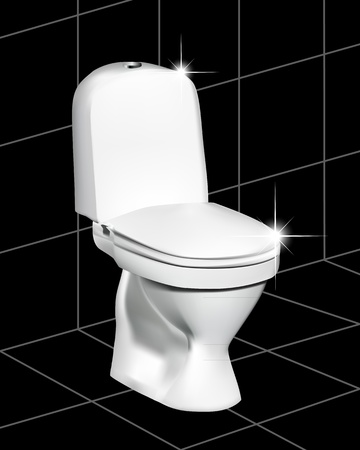 gleam: White toilet on a black tile with a gleam