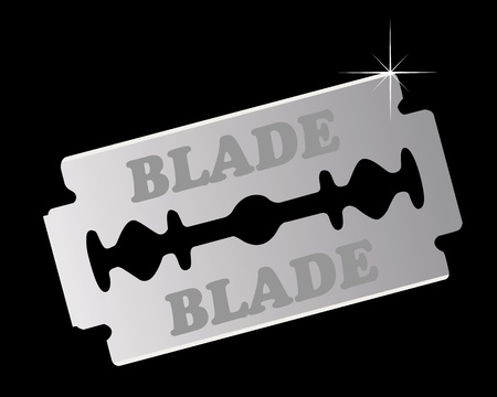razor blade on a black background Vector