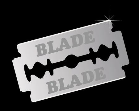 razor blade on a black background Stock Vector - 9587146
