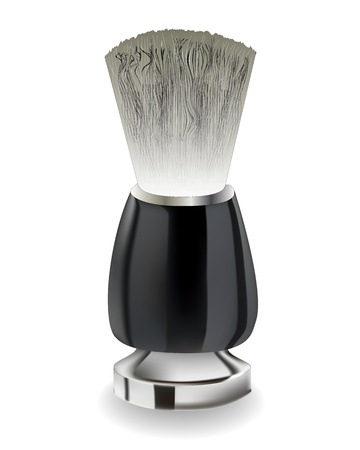 shaving brush with black handle on a white background