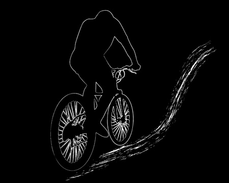 white image  of mountain biker on a black background Stock Vector - 9675791