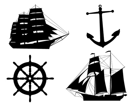 boat wheel: silhouettes of sailboats,  anchors  and steering wheel on a white background