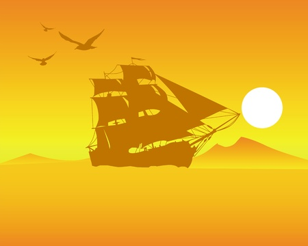 sailing ship  on  an orange background of the sky and  sun Stock Vector - 9717663