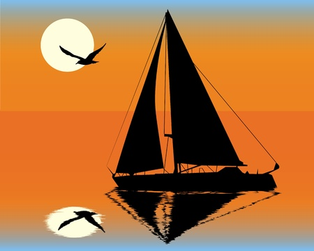 silhouette of a yacht  on the background of the setting sun Stock Vector - 9717665