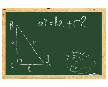 mathematical proof: school board with  the Pythagorean Theorem and painted mug  on a white background Illustration