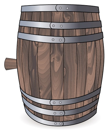 tun: wooden barrel with metal hoops on a white background