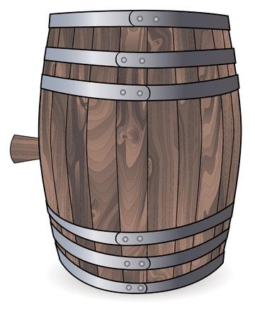 barile di legno con cerchi metallici su sfondo bianco