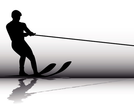water jet: Silhouette Athlete water-skier on a gray background Illustration