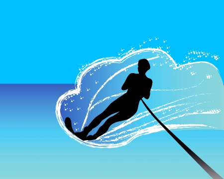 silhoette: water-skier sliding on the water surface