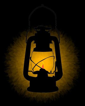 kerosene lamp burning on a black background Vector