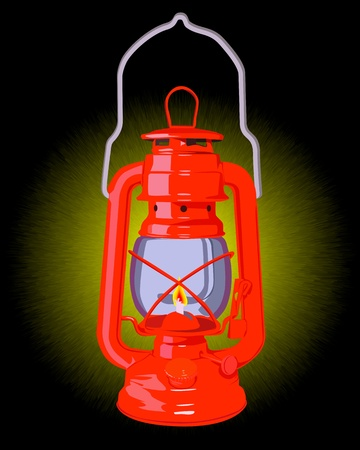 gas flame: burning red oil lamp on a black background Illustration