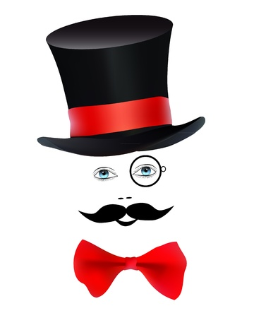 illusionist: eyes with a monocle and mustache butterfly hat magician on a white background
