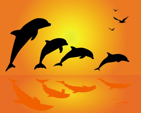 high sea: silhouettes of a group of dolphins on an orange background Illustration