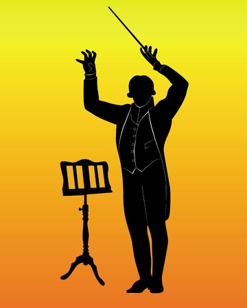 concerto: silhouette of a conductor with the music stand on an orange background