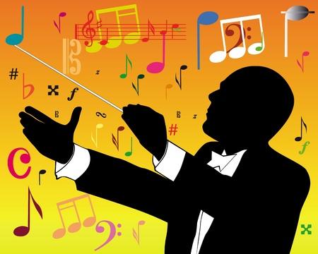 chef d orchestre: ma�tre de chapelle, avec des notes sur un fond orange