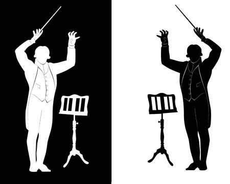 chef d orchestre: silhouette de la musique d'orchestre stand avec un fond blanc et le noir Illustration