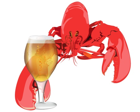 lobster: lobster with a glass of beer on white background Illustration