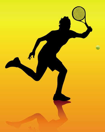 tennis player: silhouette of a tennis player Illustration