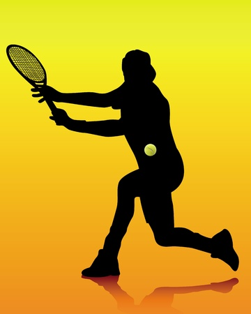 black silhouette of a tennis player on an orange background Vector