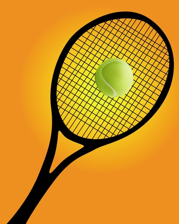 tennis racket: black silhouette of a tennis racket and ball on an orange background Illustration
