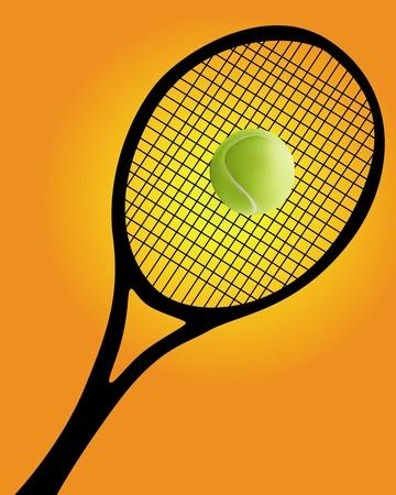 raqueta de tenis: silueta negra de una raqueta de tenis y el bal�n sobre un fondo naranja Vectores