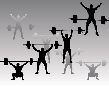 dumbell: silhouettes weightlifters on a gray background