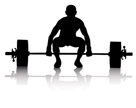 weight lifter: black silhouette of a weight lifter on a white background