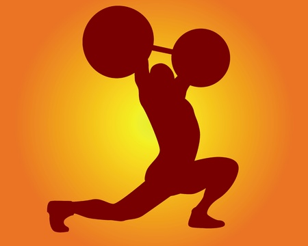 weight lifter: brown silhouette of a weight lifter on an orange background Illustration