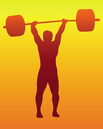 dumbell: brown silhouette of a weight lifter on an orange background Illustration